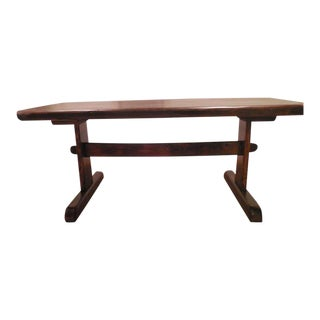 Mid-Century Handcrafted Live Edge Full Slab Trestle Table From Tunbridge Table