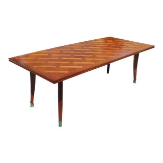 Leon Jallot 1930s French Art Deco Cherry Wood Dining Table For Sale