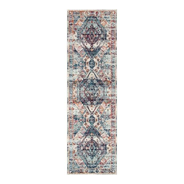 "Jaipur Living Farra Indoor Outdoor Medallion Multicolor Blue Runner Rug 2'6""X8' For Sale"