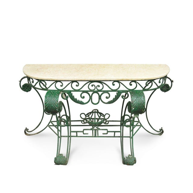 "65"" W Ornate Italian Regency Style Green Wrought Iron Marble Top Console Table - Image 11 of 11"
