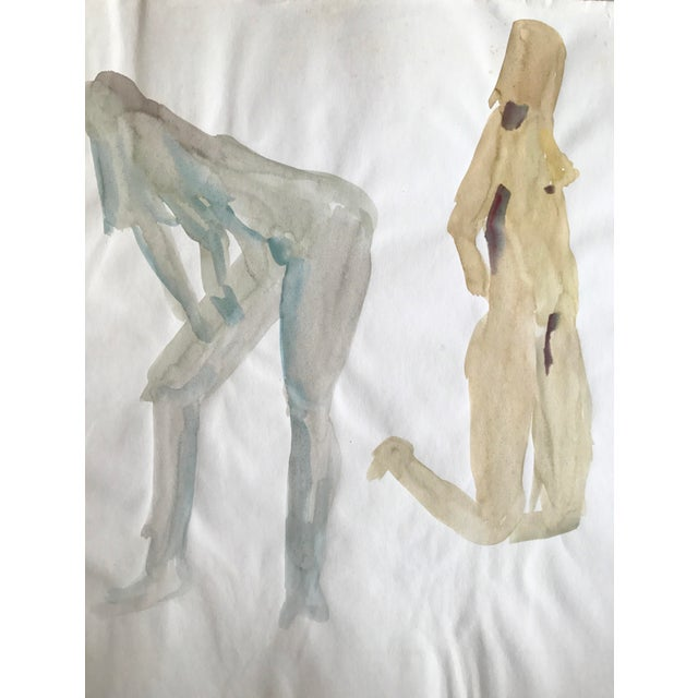 """Abstract Expressionism 1970s Original Watercolor Painting """"3 Nudes Stretching 2"""" Bay Area Artist For Sale - Image 3 of 5"""