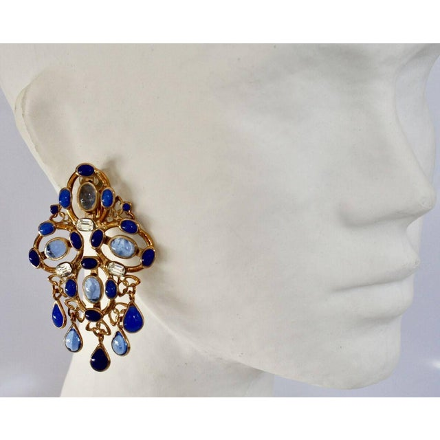 Contemporary Gripoix Plumetis Clip Drop Earrings For Sale - Image 3 of 5