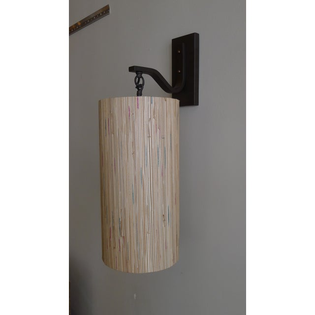 Bronze Modern Sconce with Custom Grasscloth Shade For Sale - Image 7 of 9