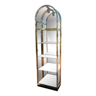 Milo Baughman for Design Institute Arched Brass & Glass Lighted Ètagère Cabinet W/ Glass Door For Sale