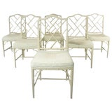 Image of 6 Faux Bamboo Chinese Chippendale Style Dining Chairs For Sale