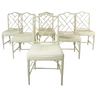 6 Faux Bamboo Chinese Chippendale Style Dining Chairs For Sale