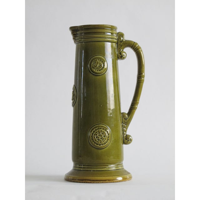 French Green Pitcher W/ Medallions - Image 2 of 6