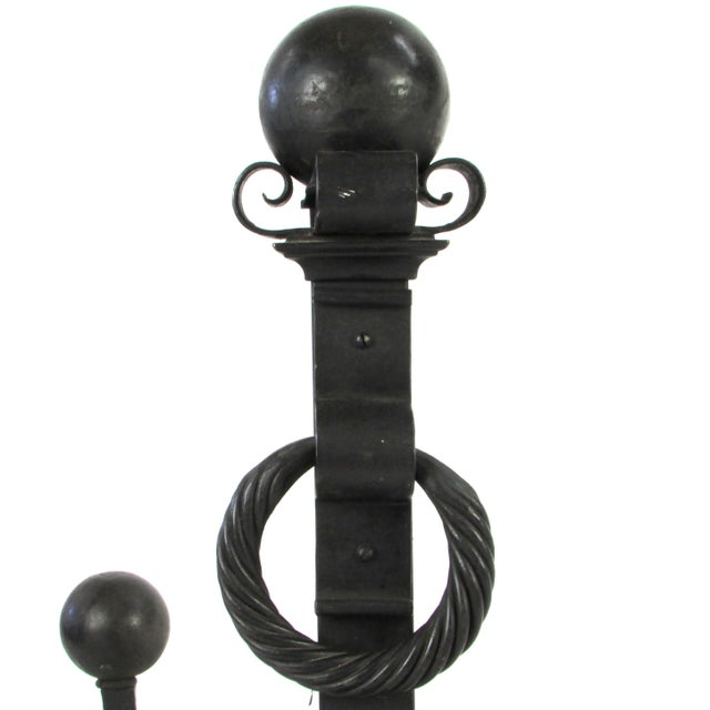 Large-Scale Wrought Iron Andiron W/ Cross Bar - A Pair - Image 4 of 5