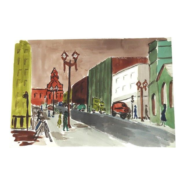 Mid-Century City Scene Watercolor Painting - Image 1 of 3