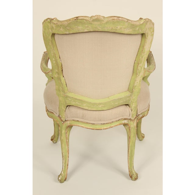 Late 19th Century Antique Louis XV Style Painted Armchairs- A Pair For Sale - Image 4 of 13