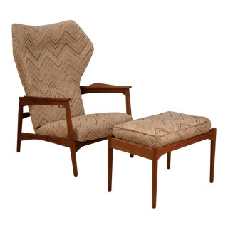 Vintage Mid Century Danish Ib Kofod-Larsen Reclining Lounge Chair and Ottoman For Sale