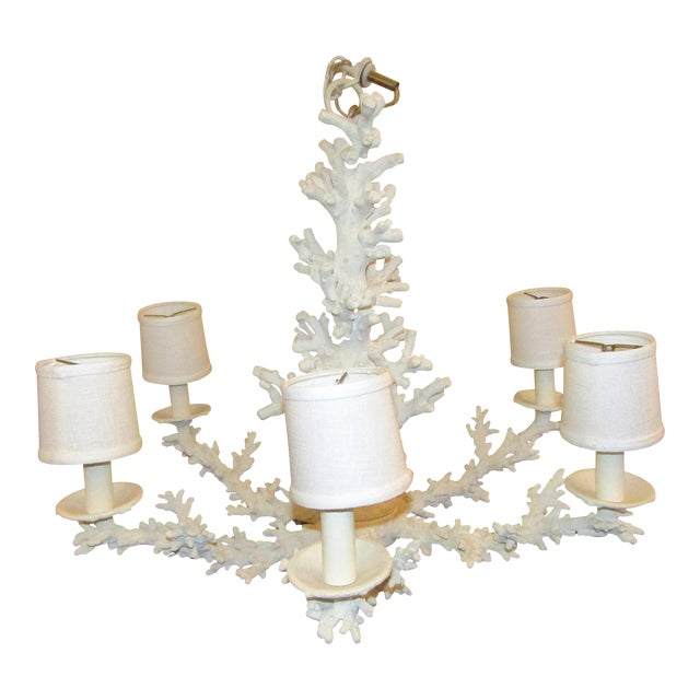 Faux Coral 6 Lamp Chandelier - Image 1 of 5