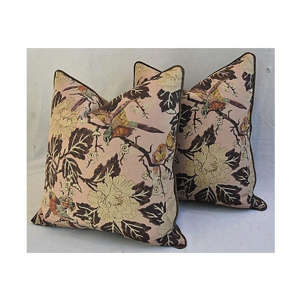 """Late 20th Century Custom Chinoiserie Floral & Birds Feather/Down Pillows 26"""" Square - Pair For Sale - Image 5 of 12"""