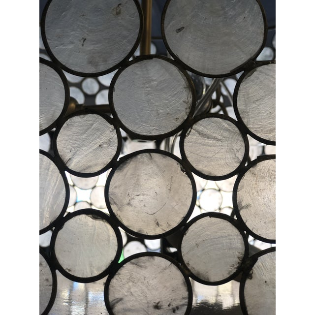 1960s Mid-Century Modern Style Capíz Shell Chandelier For Sale - Image 5 of 8