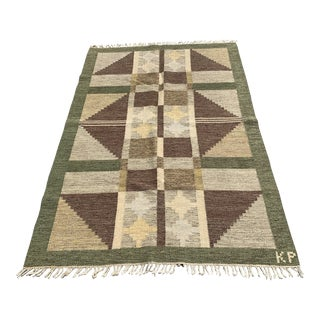 Scandinavian Mid-Century Wool Rug - 4′4″ × 7′ For Sale