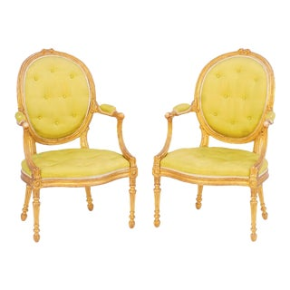 19th C. English Giltwood Armchairs - a Pair For Sale