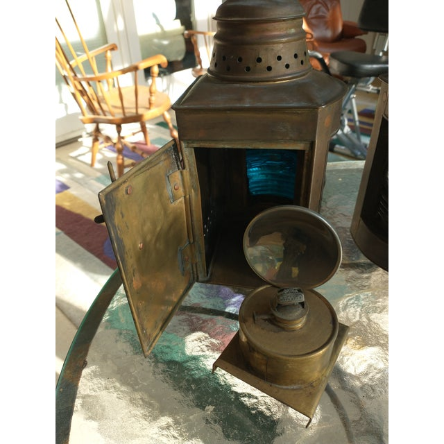 Mid 20th Century Mid 20th Century Copper Nautical Lanterns - a Pair For Sale - Image 5 of 13