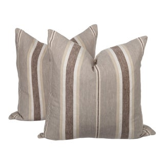 Belgian Linen Stripe Pillows, a Pair For Sale