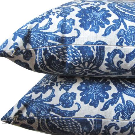 Modern Indigo Batik Floral Decorative Pillow Cover For Sale - Image 3 of 6