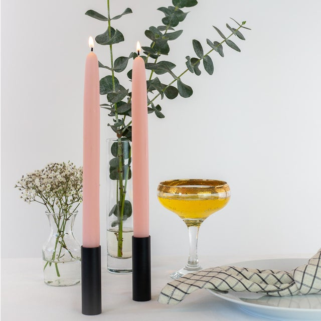 Trio of Dipped Beeswax Candles in Terra Cotta, Pink Rose & Natural White - Bundle of 3 Pairs For Sale - Image 4 of 5