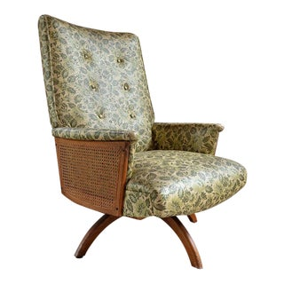 Mid-Century Green Leaf Caned Swivel Rocker For Sale