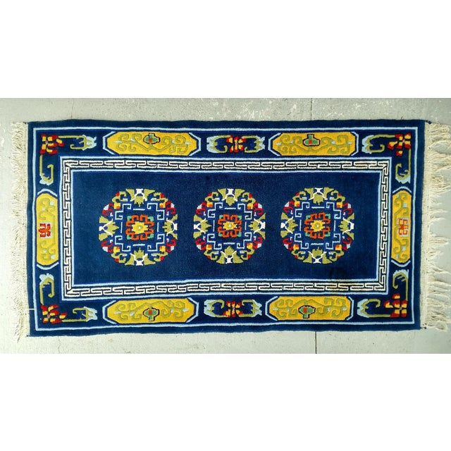 Hand-Knotted Wool, Navy Blue Asian Rug - 2′12″ × 6′1″, Vintage For Sale In Miami - Image 6 of 6