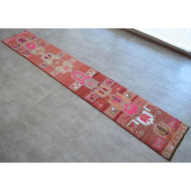 Distressed Oushak Rug Runner - Hand Knotted Narrow Hallway Rug - 1′ 11″ × 12′ 2″ For Sale - Image 9 of 9