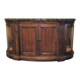 Traditional Henredon Large Marble Topped Credenza Sideboard For Sale