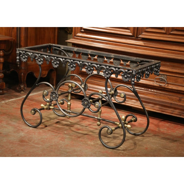Polished Iron Butcher Pastry Table With Marble Top and Brass Finials From France For Sale - Image 9 of 11