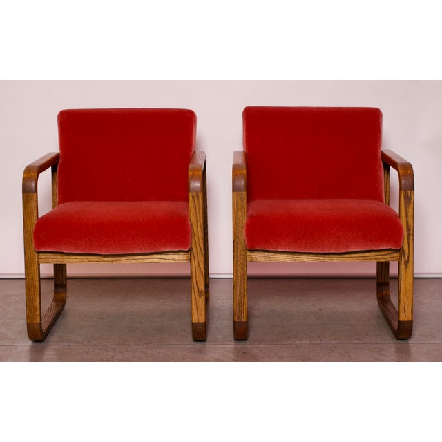 1970s Mid-Century Modern Crimson Mohair Accent Chairs - a Pair For Sale - Image 11 of 13