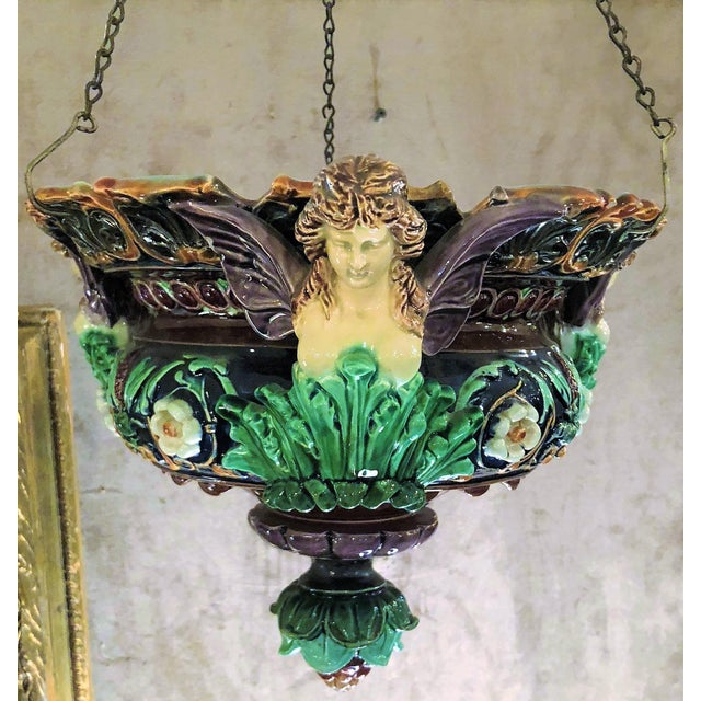 English Traditional Pair Antique 19th Century Majolica Jardinieres, Circa 1870. For Sale - Image 3 of 4