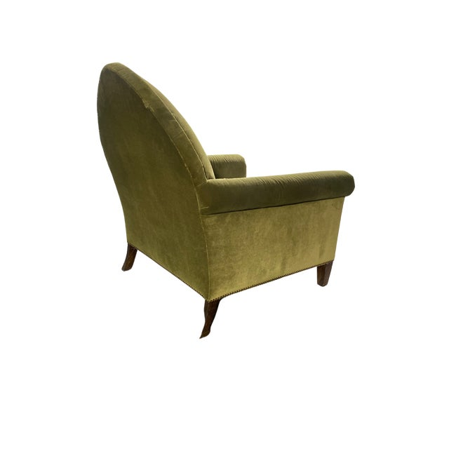 Gothic Luxe Green Velvet Gothic Chair With Nailhead Trim and Plaid Seat. For Sale - Image 3 of 7