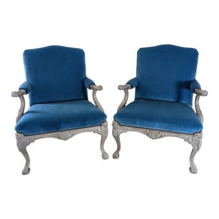 Ralph Lauren Clivedon Carved Armchairs - a Pair For Sale