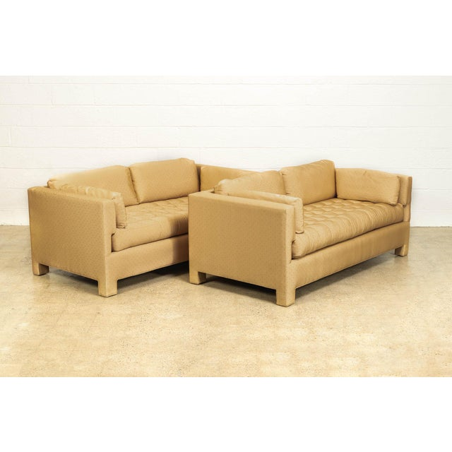 Mid Century Probber or Wormley Style Tan Upholstered Sofa Couches - a Pair For Sale - Image 10 of 10