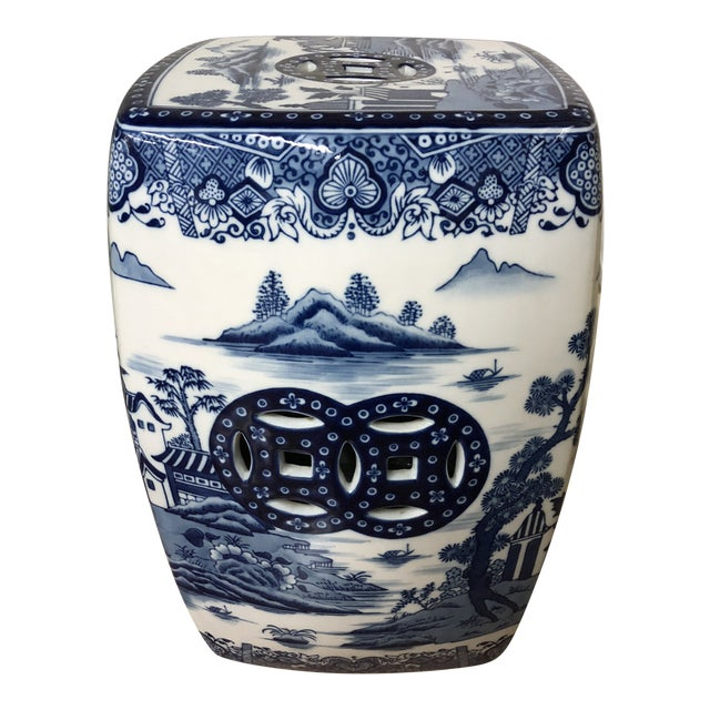 1980s Chinoiserie Blue & White Pagoda Garden Stool For Sale