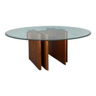 Trekanten Coffee Table With Round Glass Top For Sale
