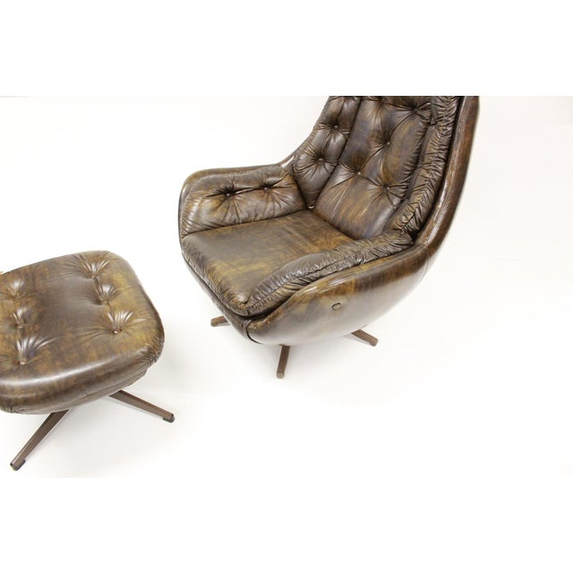 Brown Mid Century Modern Carter Lounge Chair and Ottoman For Sale - Image 8 of 13