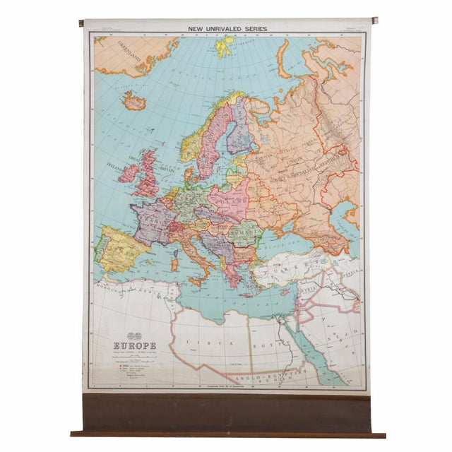 Antique Nystrom Pull Down Map of Europe | Chairish