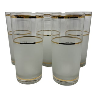 Vintage Culver Frosted and Clear Glass Drinking Glasses With Gold Trim- S/5 For Sale