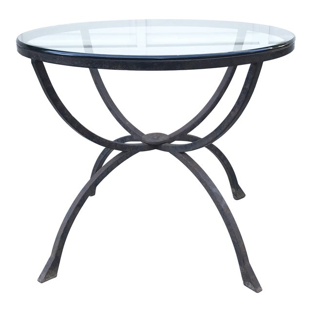 Sculptural Iron & Glass Table For Sale