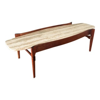 20th Century Italian Travertine & Walnut Coffee Table For Sale