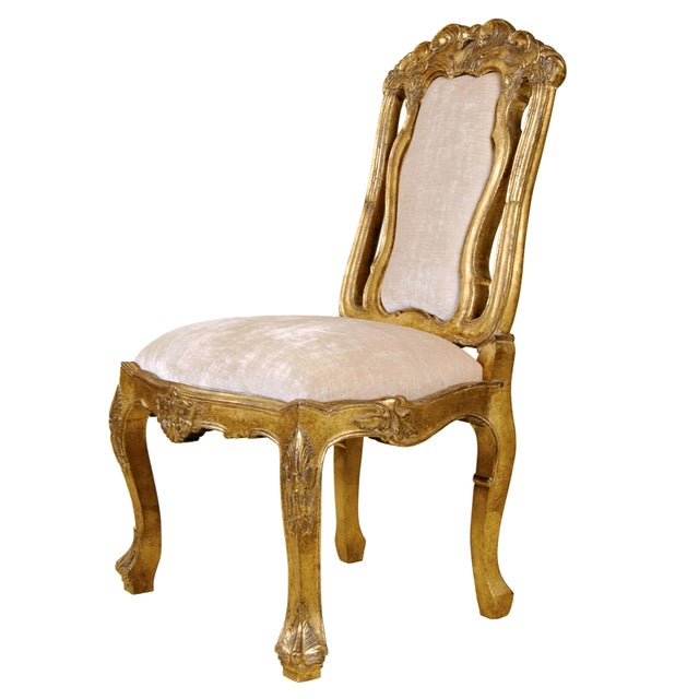 Item #: 9007 - Sienna Dining Side Chair Finish: 23K Distressed Yellow Gold Fabric: 2 Yards Plain - C.O.M. Dimensions: 26W...