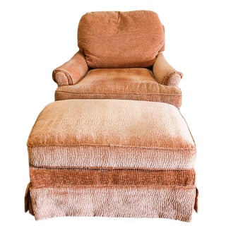 Coral Plush Lounge Chair With Ottoman For Sale