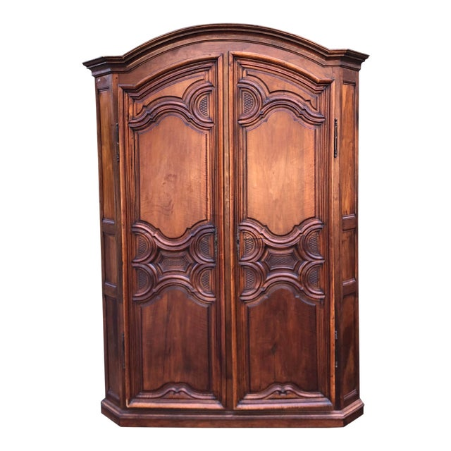 18th C French Country Armoire Corner Cabinet For Sale