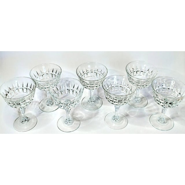 Mid-Century Modern Vintage 40s Cut Crystal Champagne Coupes- Set of 7 For Sale - Image 3 of 7
