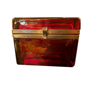French Ruby Red Opaline Glass Dresser Box For Sale