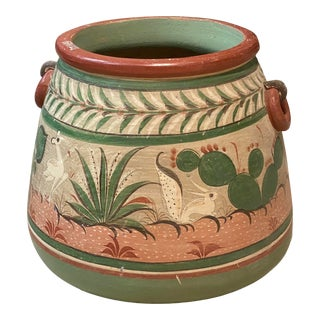 Vintage Mexican Burnished Tonala Pottery Planter For Sale