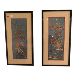 Framed & Matted Chinese Silk Floral Embroidered Panels - a Pair For Sale