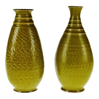 Vintage Canadian Pottery Ceramic Vases - a Pair For Sale