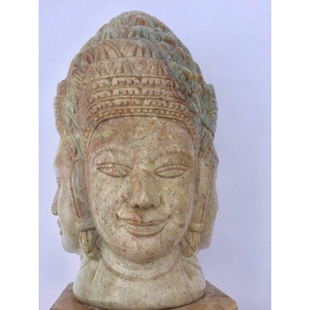 Soapstone Hand-Carved Bust of Brahma With Four Faces For Sale - Image 11 of 13